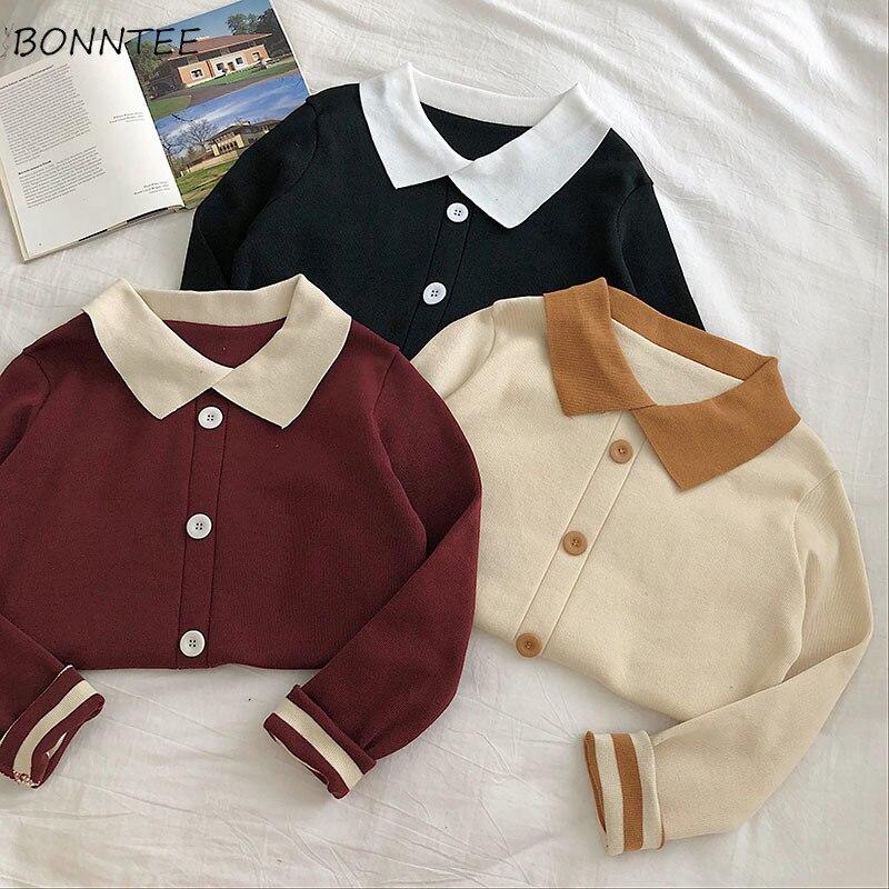 Sweaters Women Turn-down Collar School Patchwork Harajuku Korean Womens All-match Leisure Vintage Trendy Girls Top Females Soft
