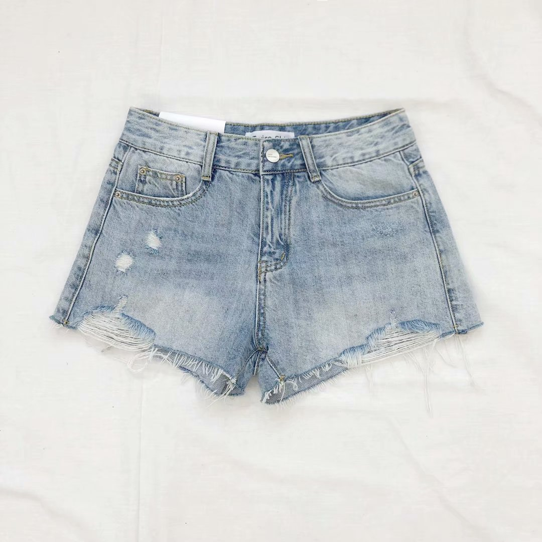 2019 New Style Industrial Washing Jeans Women's High-waisted Burrs Fashion Women's Shorts Denim Shorts
