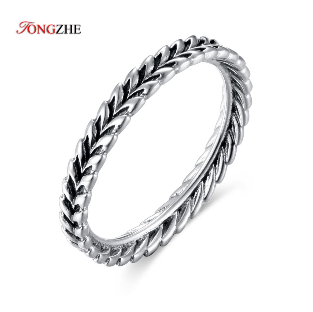 TONGZHE Feather-Rings Angel-Wing Jewelry Men Punk Fashion Women Love for Bague Femme
