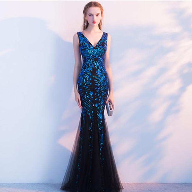 Blue Sequin Sexy Evening Dresses Long Mermaid Chinese Wedding Dress Qipao Oriental Style Party Gown Qi Pao Women Host Robe Rouge