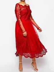 Скромное Красное Кружевное платье для матери невесты, большие размеры сетчатые длинные рукава, платье для гостя, платье для свадьбы