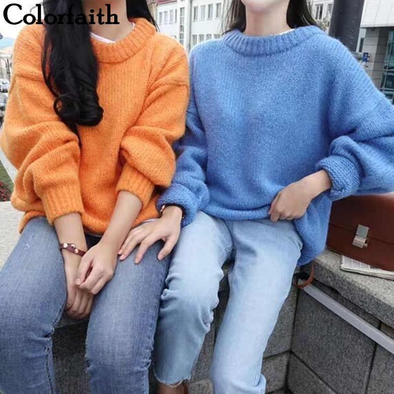 Colorfaith 2019 New Autumn Winter Women Sweaters Pullovers Warm Minimalist Knitting Elegant Casual Loose Ladies Tops SW8870