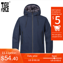 Men's Jacket Tiger-Force Windbreaker Hooded Warm-Streetwear New Outwear Casual TJBW-50636