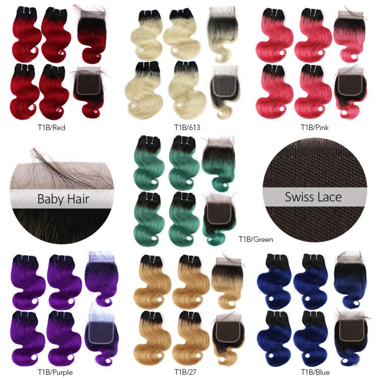 Real Beauty 50g/pc Ombre Blonde Brazilian Straight Remy Human Hair With Closure 613/Purple/Blue/Pink/Green/ Blue Short Bob Style