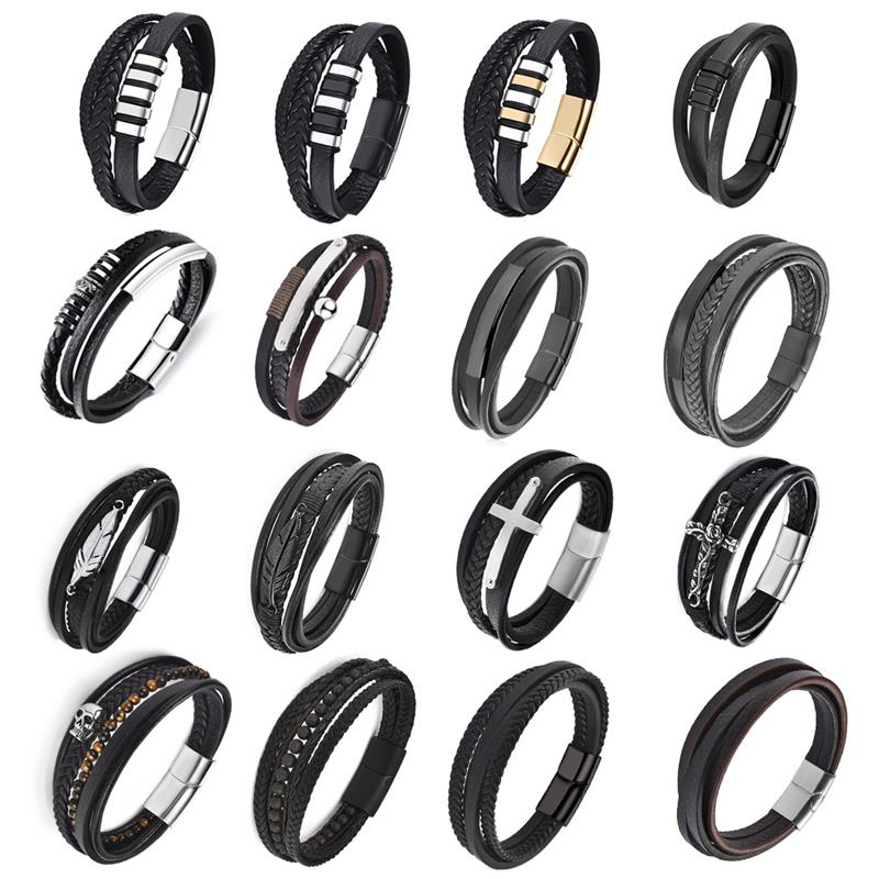 bracelets for men Braided Leather Bracelet Wholesale Price Best Promotion Male Cuff Bracelet Jewelry New Arrival Free Shipping(China)