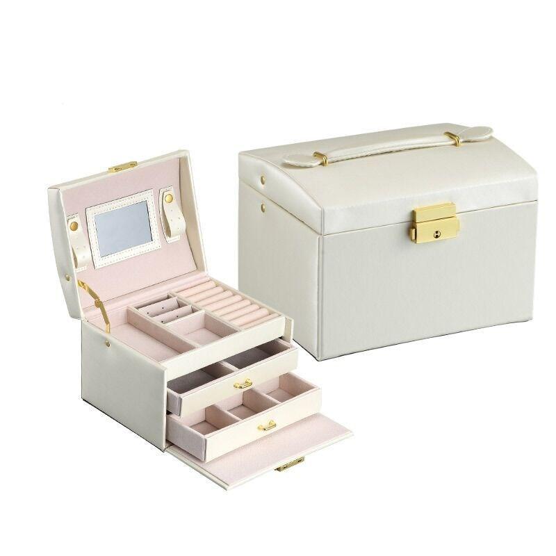 Boîte de rangement de bijoux moderne trois couches en cuir PU boucle d'oreille anneau Orgainzer avec miroir boîte à bijoux collier boîte de rangement conteneur