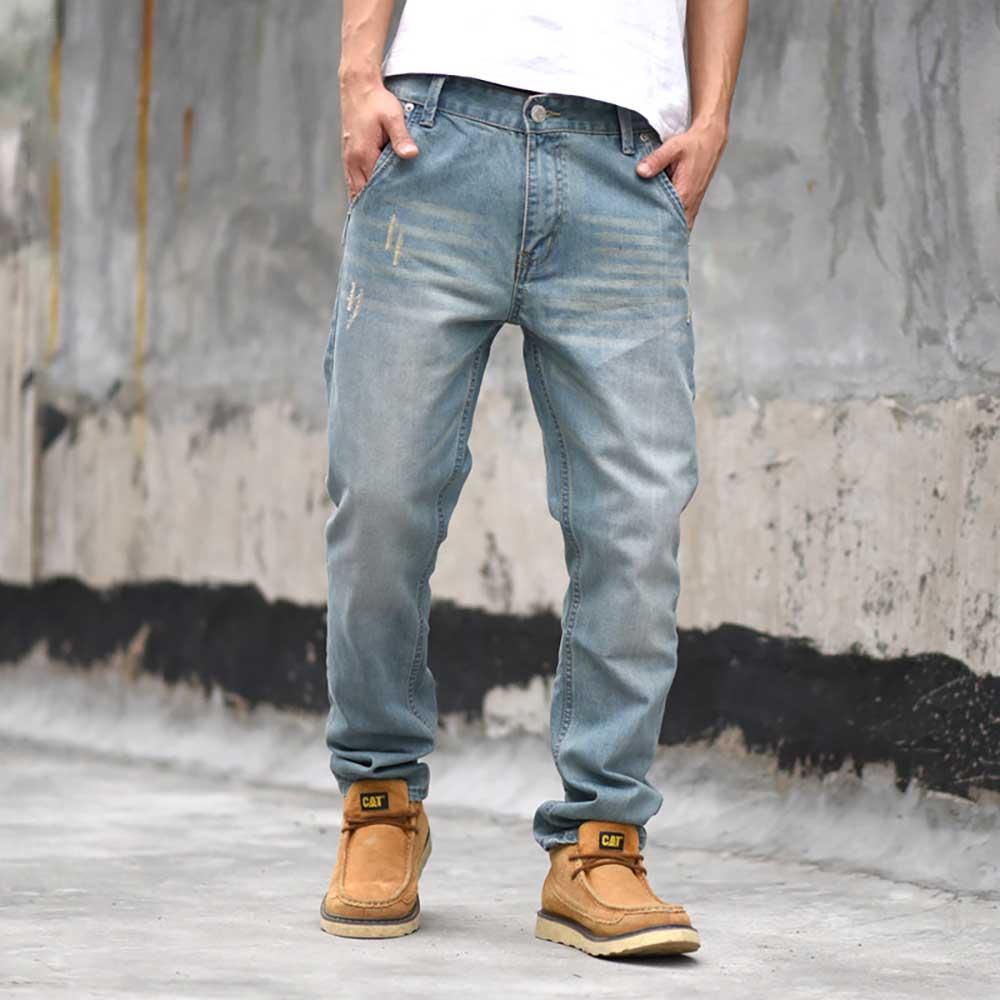New Trend Harem Jeans Men Casual Tapered Denim Pants Regular Fit Retro Blue Trousers Joggers Jeans Pants Man Clothing
