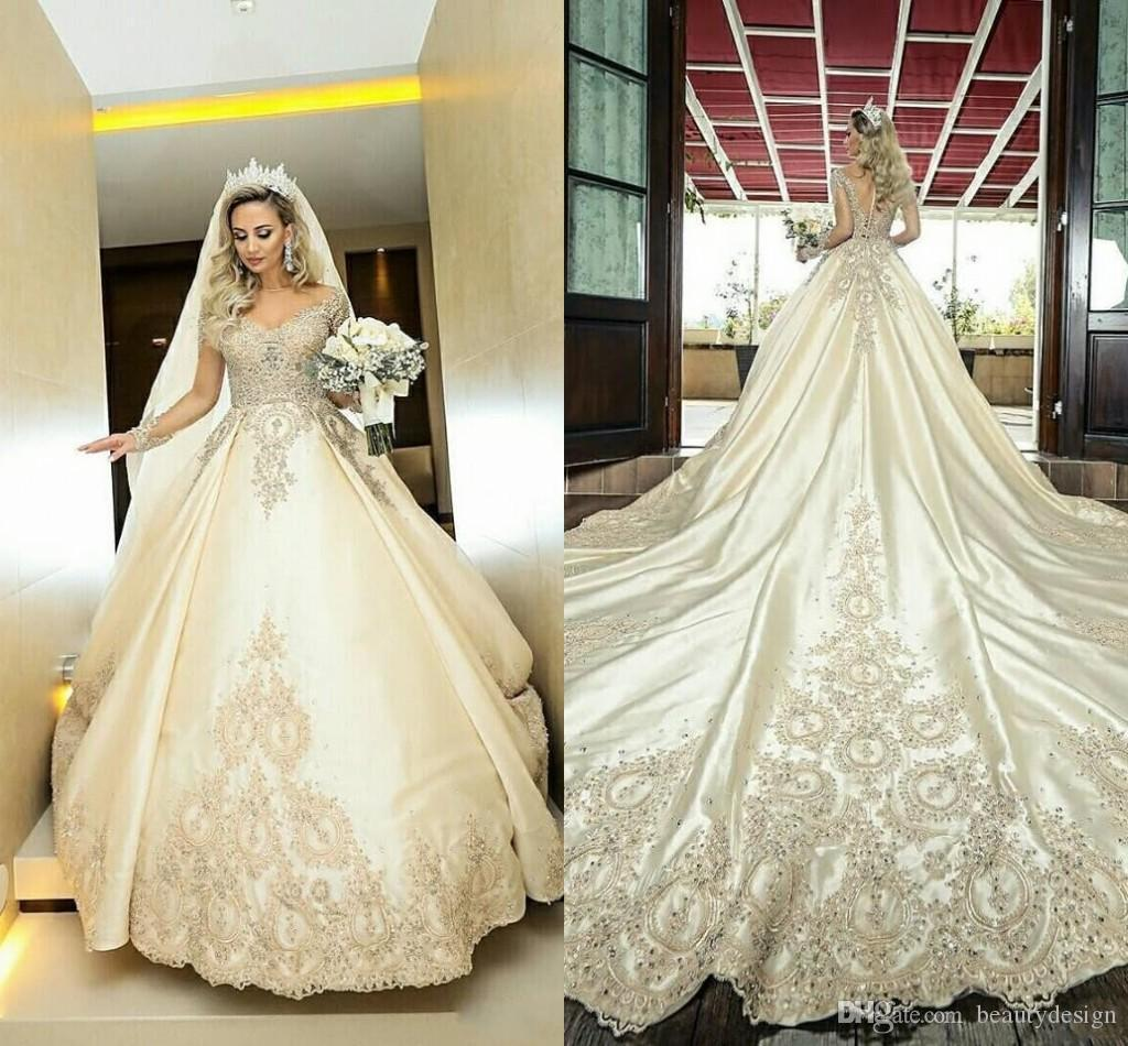 Sheer Long Sleeves Ball Gown Wedding Dresses Lace Appliques Beaded Bridal Gowns Formal Long Garden Robe De Marriage