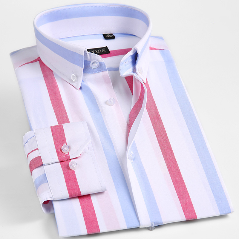 Men's Fashion Button-down Bold Striped Shirts Long Sleeve Standard-fit Comfortable 100% Cotton Work Casual Blouse Tops Shirt