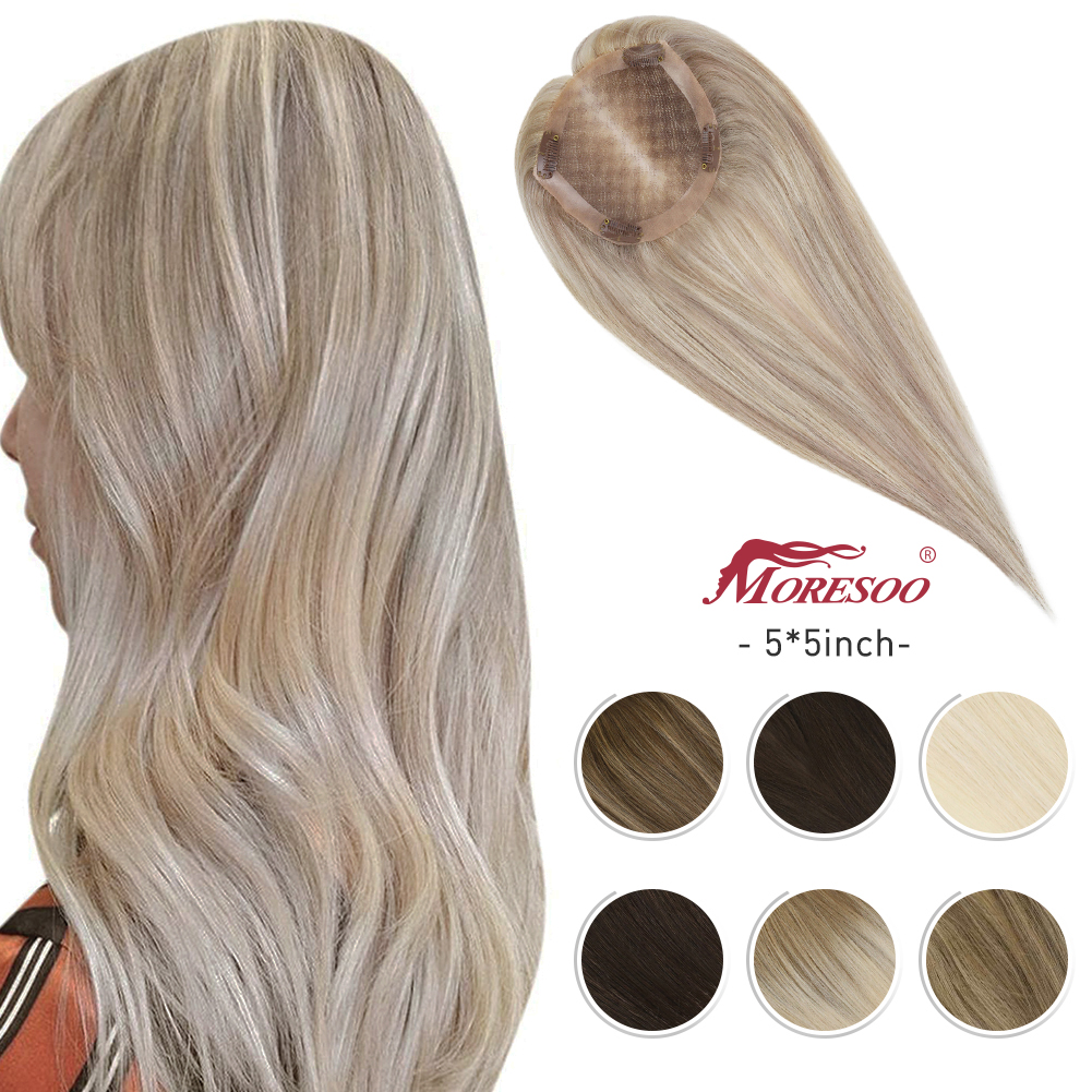Moresoo Haar Topper Maschine Remy Menschliches Haar Topper Toupet Frauen 5*5 zoll 8-10 zoll Reine Farbe ombre Farbe Balayage Farbe