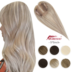 Moresoo Hair Topper Machine Remy Human Hair Toppers Toupee Women 5*5 inches 8-10 inches Pure Color Ombre Color Balayage Color