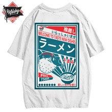 Japanese Harajuku T-Shirt Men Summer Hip Hop T Shirts Dolphin Noodle Ship Cartoon Streetwear Tshirts Short Sleeve Top Cotton