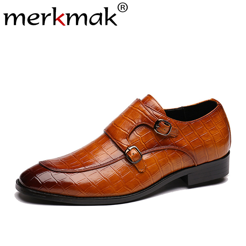Merkmak Pointed Toe Men Shoes Classic Crocodile Pattern Business Formal Leather Shoes Big Size 37-48 Office Footwear DropShip