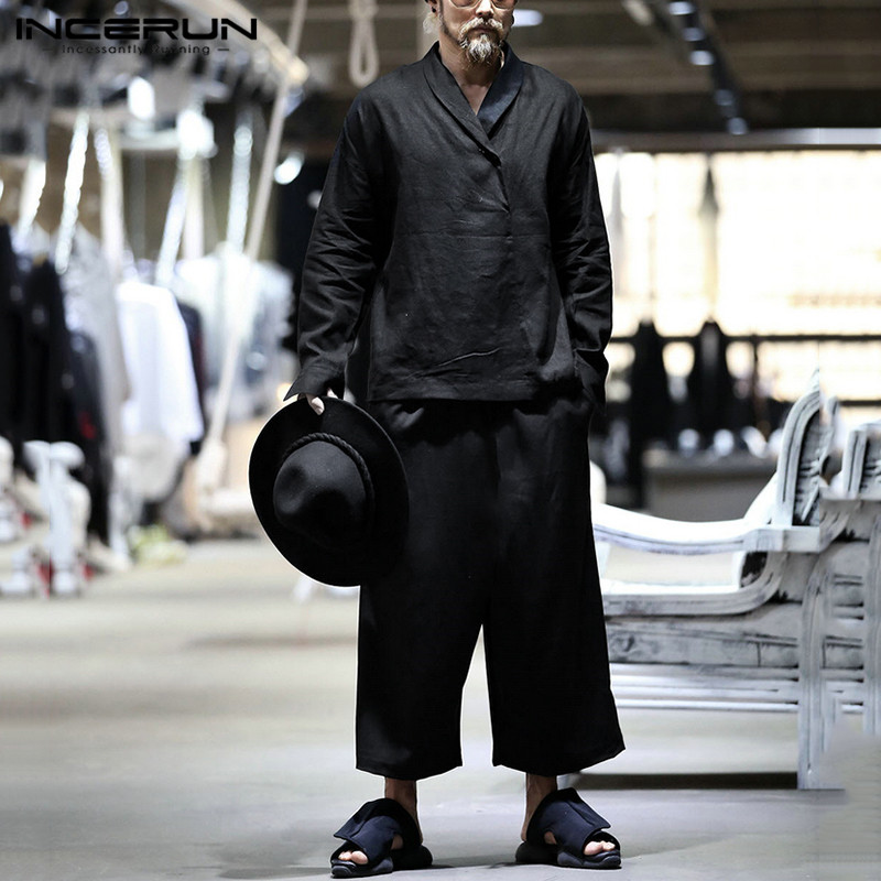 INCERUN Men Sets Plain Streetwear Lapel Long Sleeve Casual Shirts Pockets Vintage Drawstring Pants Chic Brand Men Suits 2 Pieces
