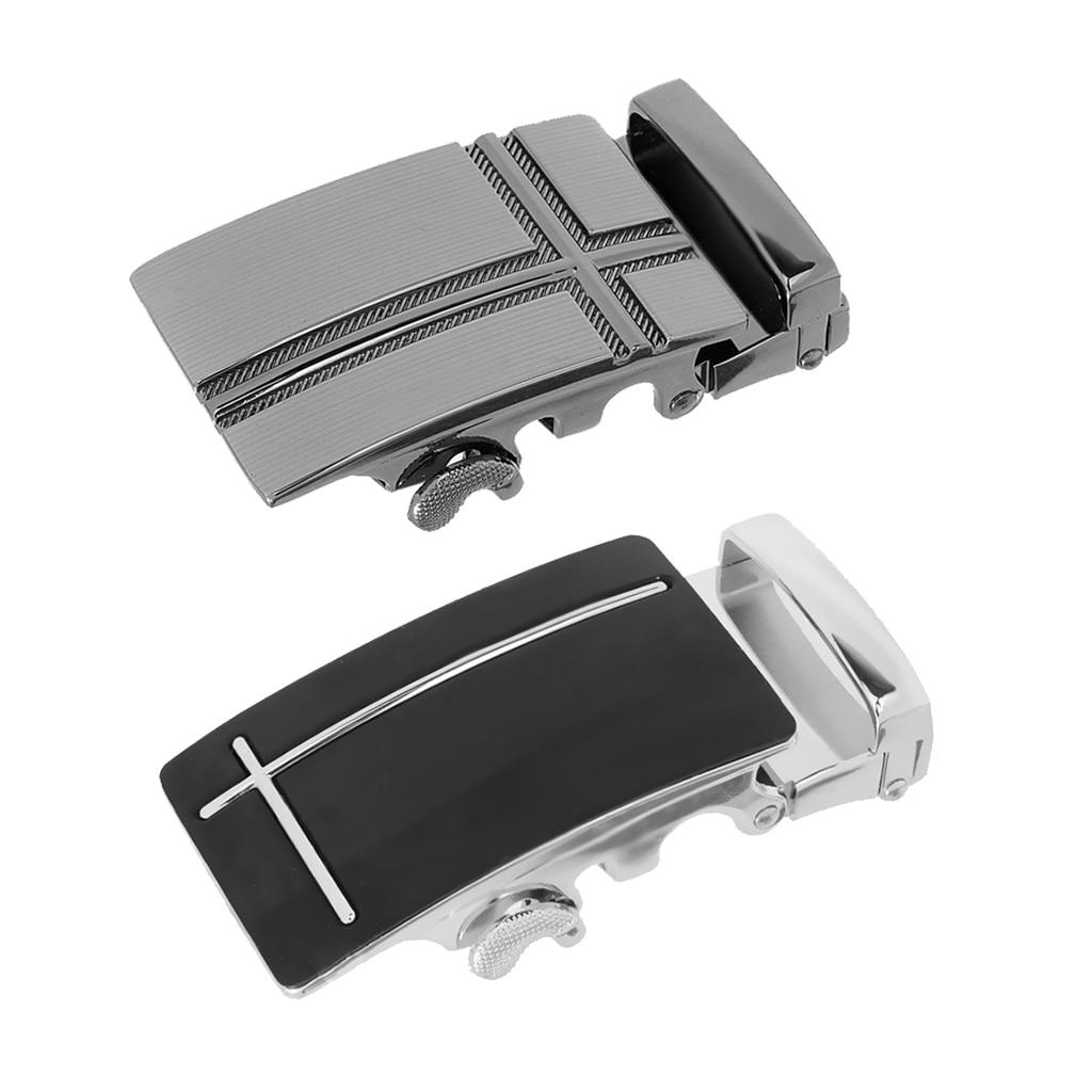 2x Mens Fashion And Durable Belt Buckle Automatic Slide Click Buckle Ratchet Belt Buckle, For Black Leather Belt