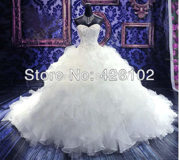 2019 Custom Made Real Sample Sweetheart Luxury Royal Puffy Pearl Beading Cathedral Train Ball Gown Wedding Dress