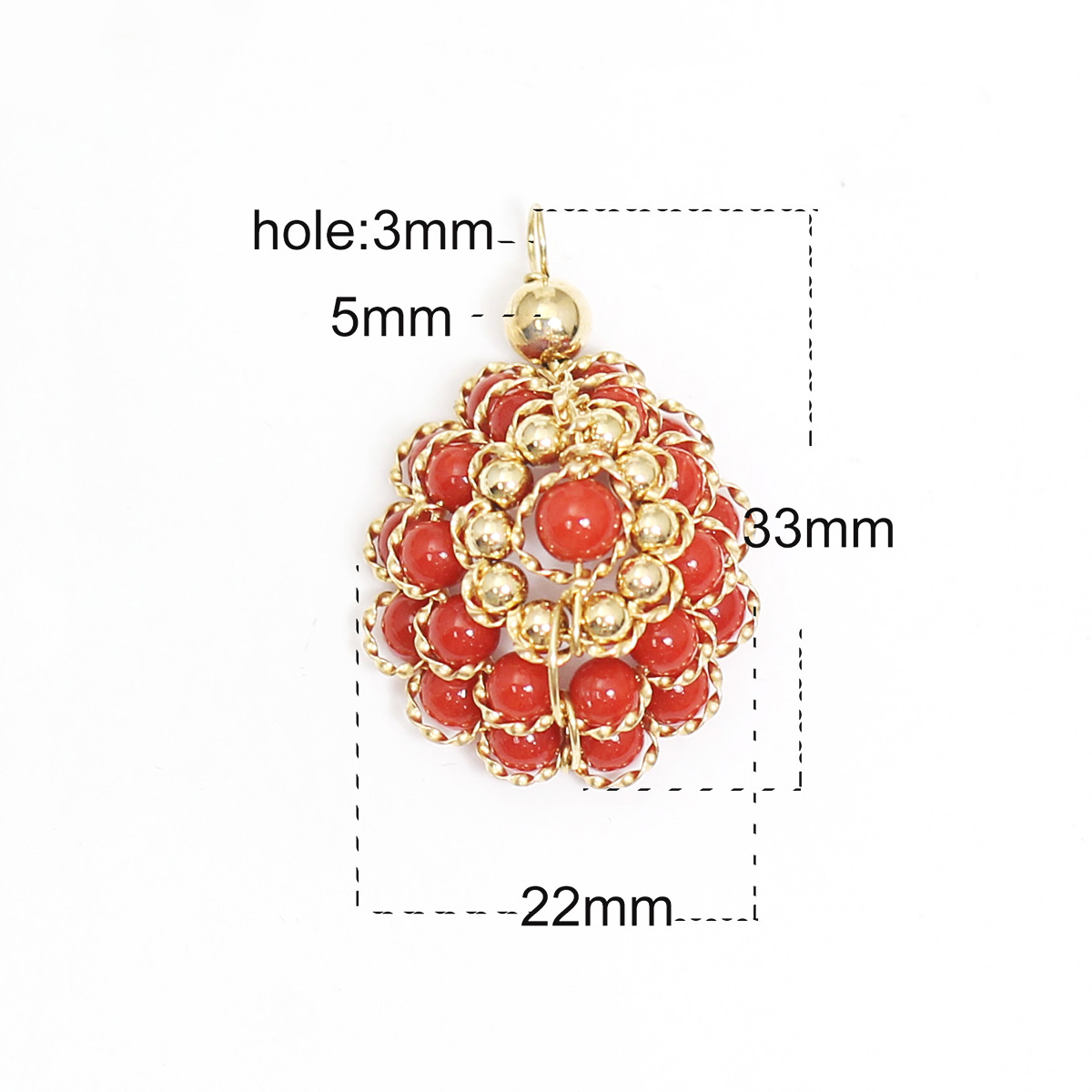Beadsnice Gold Filled Red Coral Pendant Fine Jewelry for Necklace Making Wedding Gift 39770 in Pendants from Jewelry Accessories