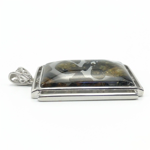 Image 2 - 本物の天然 Gibeon 鉄隕石モルダバイト女性男性ネックレス 38 × 25 ミリメートルシルバージュエリー葉彫刻宝石用原石のペンダント AAAAA