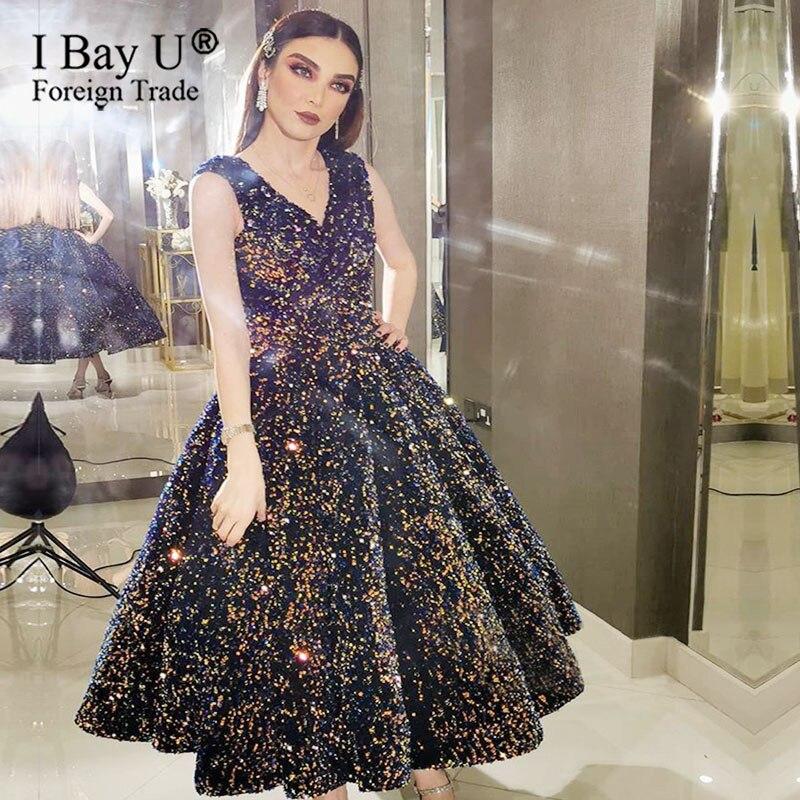 Indigo Blue Glitter Cocktail Evening Dress Short V Neck 2020 Luxury Sleeveless Sequined Sexy Sparkle Semi Formal Gowns