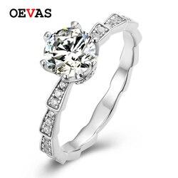 OEVAS Real 0.5/1 Carat D couleur Moissanite bague nuptiale 18K or blanc couleur 100% 925 argent Sterling saprfairy Party Fine bijoux