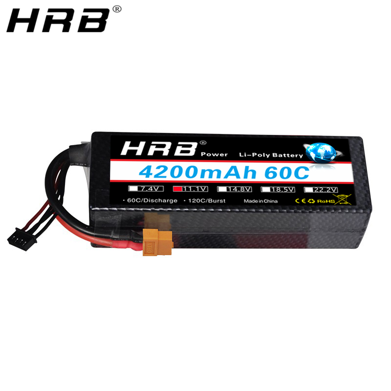 HRB 4200mAh 3S 11.1V Lipo Battery 60C T Deans XT60 EC5 XT90 TRX Hard Case For Traxxas Car Airplanes Boat RC Parts Cover Hardcase image