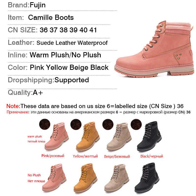 Fujin kışlık botlar kadınlar 2019 topuklu kışlık botlar yeni varış kadın ayakkabı sıcak kürk peluş kar ayakkabıları kadın yarım çizmeler