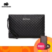 BISON DENIM Genuine Leather Mens Wallet Letter Pattern Male Clutch Wallet Brand iPad Bag Cowskin Large Capacity Male Purse N8187
