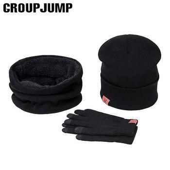 2020 nowy marka zima dziergana czapka kapelusz szalik rękawiczki zestawy mężczyźni kobiety wełniane kapelusze Unisex zagęścić Plus aksamitny szal czapki zestaw tanie i dobre opinie GROUPJUMP COTTON Dla dorosłych Moda Szalik Kapelusz i rękawiczki zestawy SMT-CL21 0 18kg Stałe 21*20cm 28*19 5cm 21*8 5cm