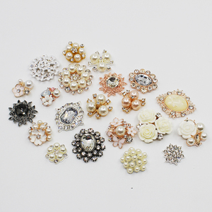 10pc mixed size flat Rhinestones metal buttons for clothes , pearl Hair accessories Scrapbook , needlework, sewing clothes