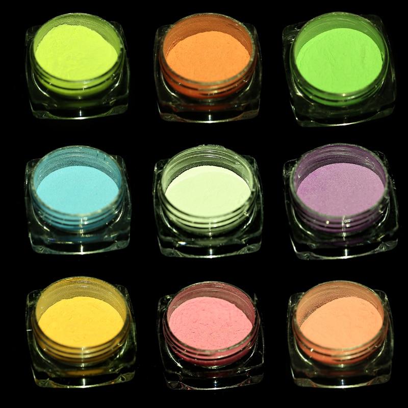 10 色発光ネイルグリッターパウダーダークグロー粉末蓄光顔料蛍光ネイルアートのデコレーション用
