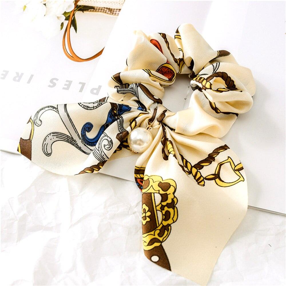 New Chiffon Bowknot Silk Hair Scrunchies Women Pearl Ponytail Holder Hair Tie Hair Rope Rubber Bands Hair Accessories Headwear