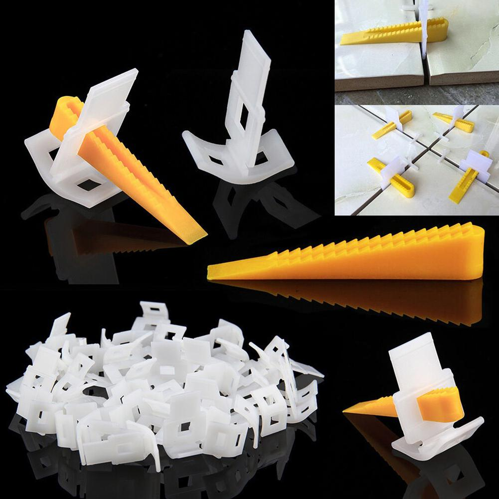 100Pcs Tile Leveling System Carrelage Wedges Tile Spacers For Flooring Wall Construction Tools Leveler Locator Spacers Plier