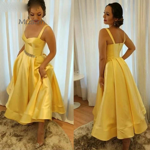 2021 Yellow Vintage Prom Dresses Satin Straps Crystals Beaded Ankle Length Custom Made A Line Celebrity Evening Party Gown Cheap