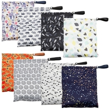 Nappy-Bags Waterproof Reusable Wet PUL Pocket Print TPU Travel 29x36cm