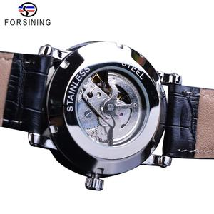 Image 4 - Forsining reloj mecánico minimalista para hombre, esfera negra delgada, automático, informal, de cuero genuino, de pulsera, masculino
