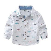 Детская одежда; детская рубашка с длинными рукавами; рубашка из чистого хлопка для маленьких мальчиков; Детские топы с рисунком; сезон весна-осень