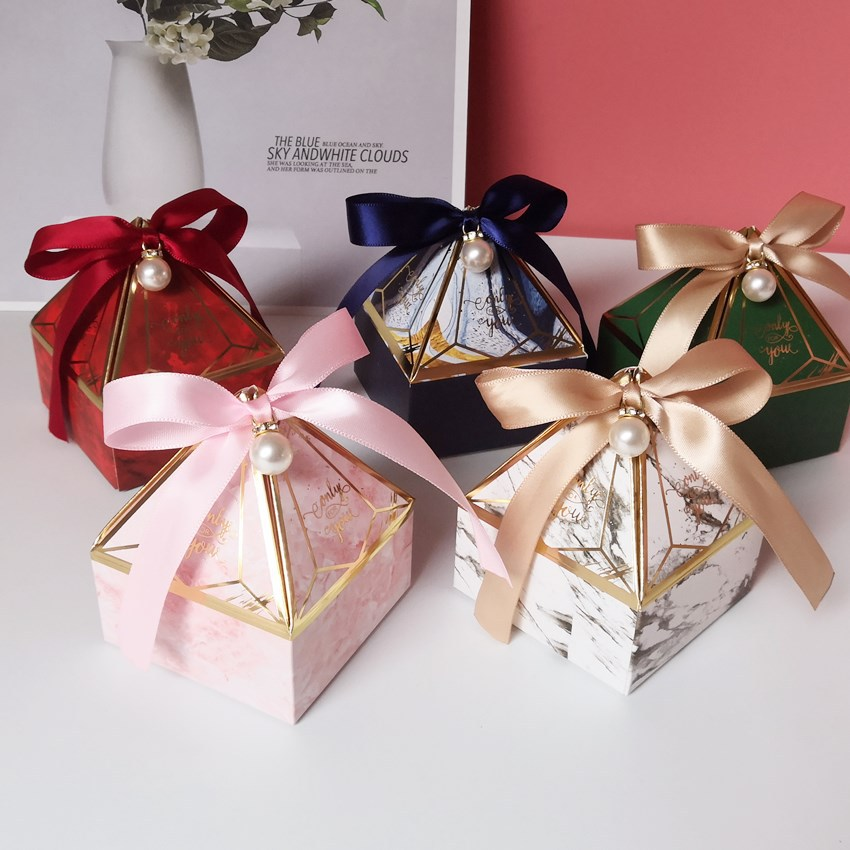 New Gem Tower Bronzing Candy Box Small Cardboard Box Wedding Card Box DecorationPaper Gift Box Packaging Event & Party Supplies