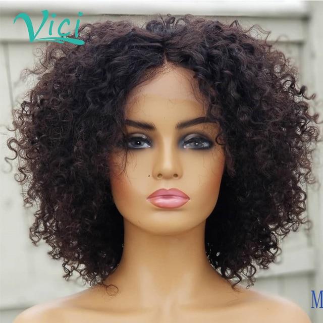 Peluca rizada con malla frontal Afro, Pelo Rizado corto, cabello humano, 150% de densidad, pelo humano con corte Bob