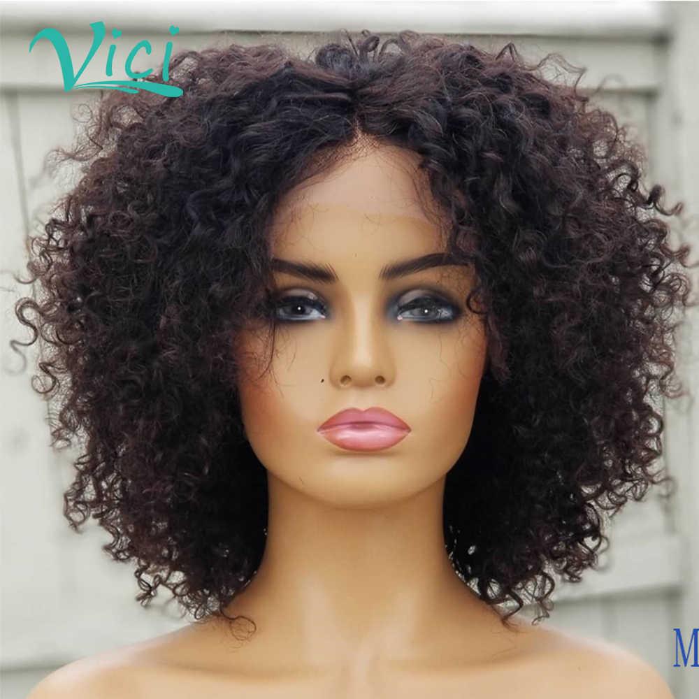 Peruka z kręconych włosów typu Kinky głębokie kręcone koronkowa peruka na przód Afro perwersyjne kręcone włosy krótkie kręcone ludzkie włosy peruka ludzkie włosy o poziomie gęstości 150% Bob peruki