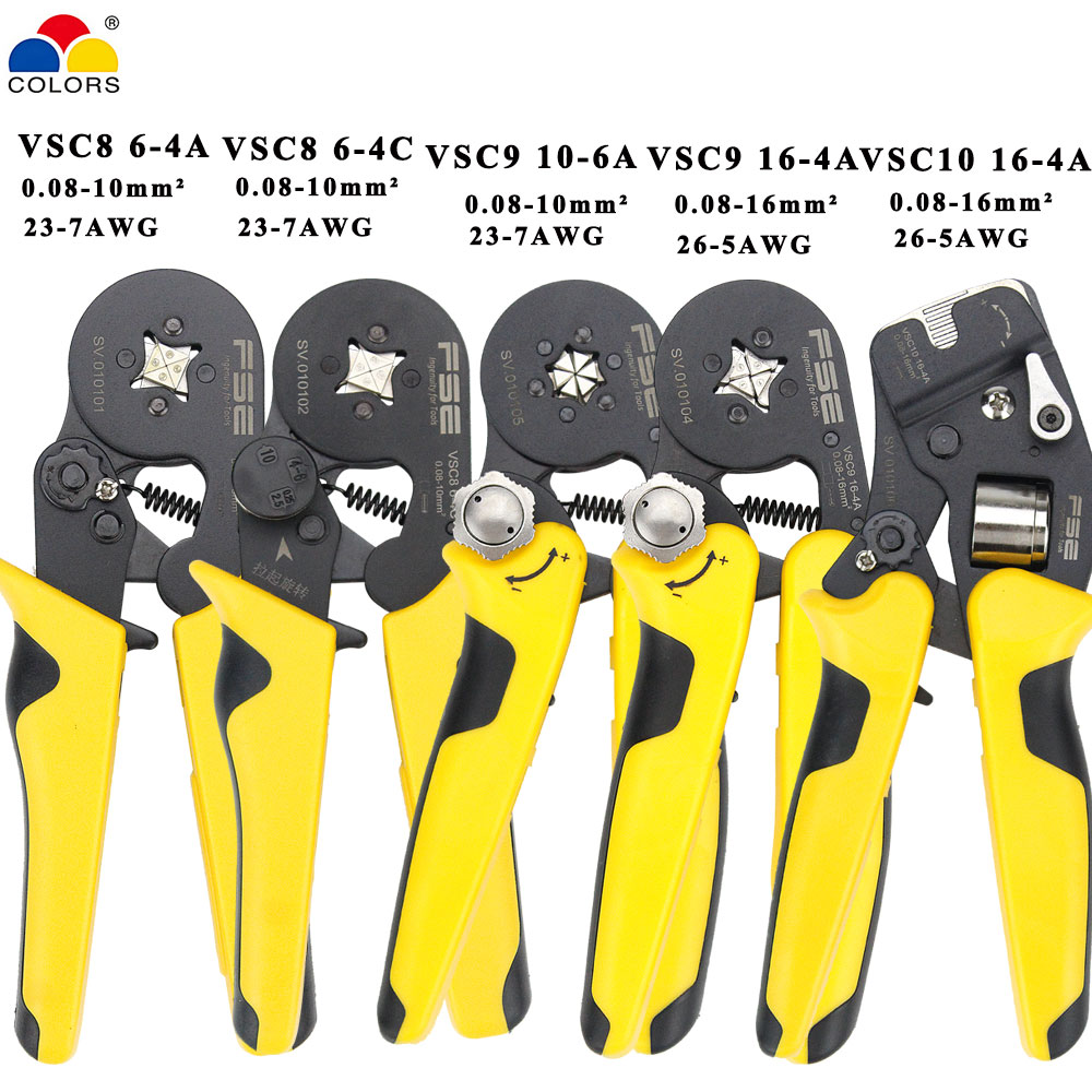 VSC9-16-4A 0.08-16mm^2 23-5AWG VSC10 16-4A Adjustable Precise Crimp Pliers Tube Bootlace Terminal Crimping Hand Tool VSC9-10-6A