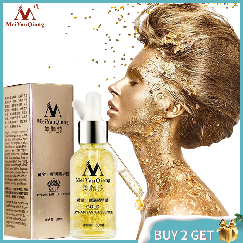Anti Aging Skin Care Pure 24K Gold Essence Day Cream Anti Wrinkle Face Care Collagen Whitening Moisturizing Hyaluronic Acid image