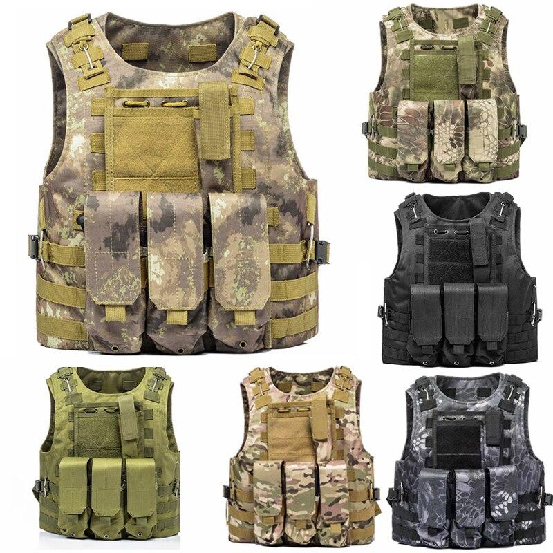 Gilet de chasse vêtements de plein air plaque d'assaut transporteur poitrine Plate-forme poche Airsoft militaire tactique gilet 9 couleurs Molle gilet de Combat