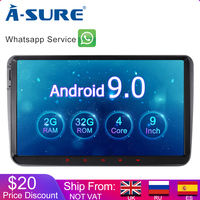 A Sure 2 Din 9 Inch Android 9.0 Car Radio GPS For Volkswagen VW Tiguan Polo Golf 5 6 Passat b6 Caddy Transporter T5 Touran Skoda