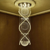 Moderna dupla espiral lustre de cristal k9 superdense dispositivos da lâmpada elétrica cristal hotel villa escada lâmpada lustre|Lustres| |  -