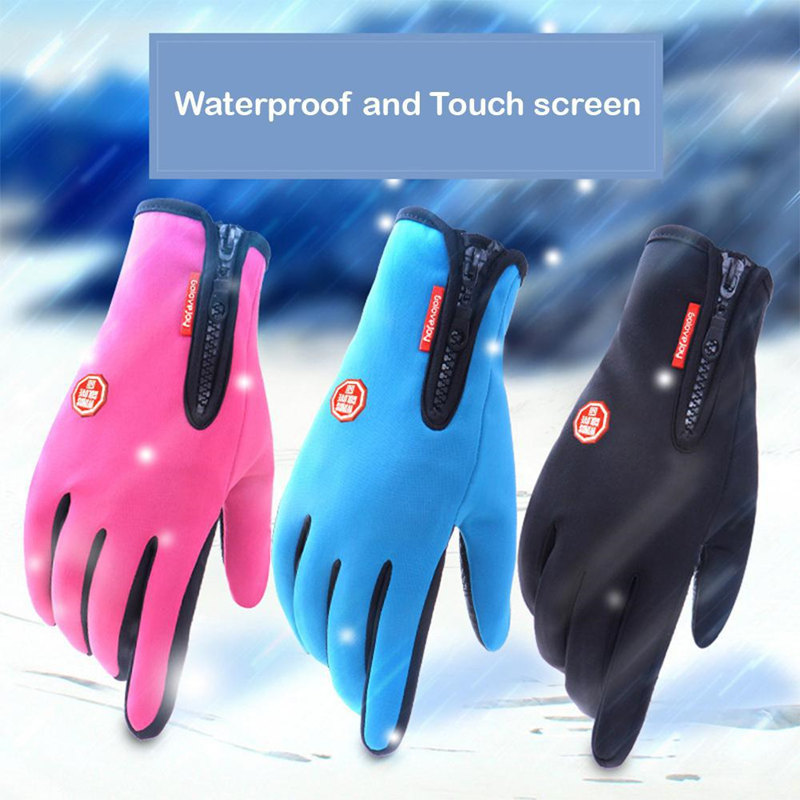 Motorcycle Gloves Touch Screen Full Finger Winter Racing Outdoor Sports Windstopper Waterproof Zipper Skiing Riding Warm Gloves