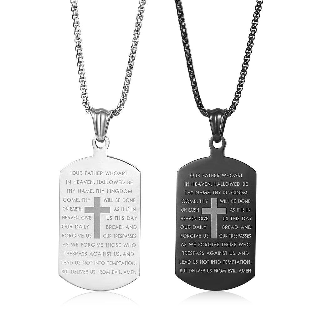 ステンレス鋼聖書詩クロスドッグタグ男性軍ペンダントボックスチェーンクリスチャンをジュエリーKPM149