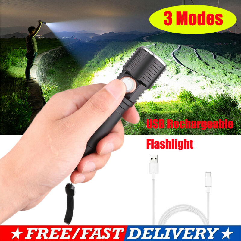 Portable T6 <font><b>LED</b></font> Flashlight Torch USB Rechargeable Waterproof Lamp Ultra Bright 3 Modes Dimming <font><b>60000LM</b></font> image