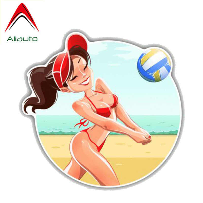Aliauto Cartoon Car Sticker Sexy Girl Volleyball Player Decoration Sunscreen Reflective Waterproof Creative Decal PVC,13cm*12cm