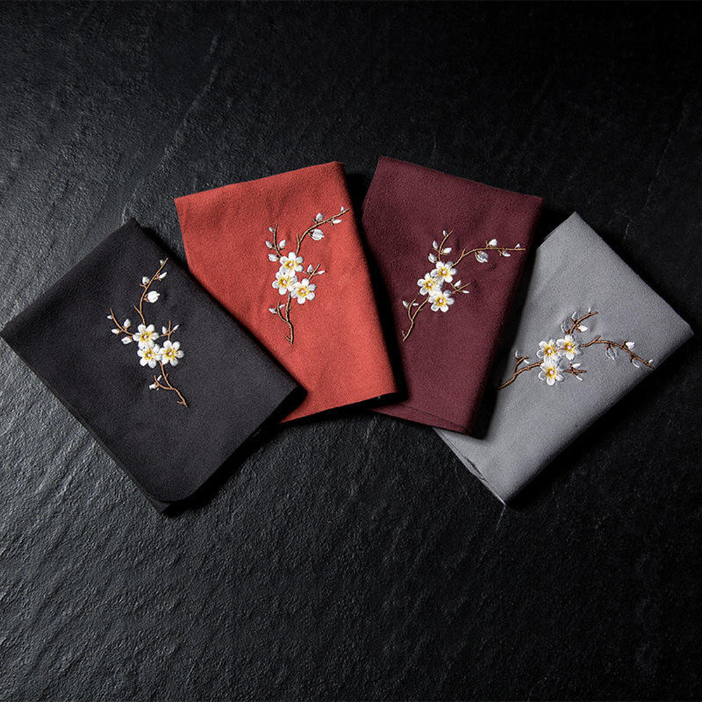 Vintage Embroidered Tea Napkins Cloth Fish Plum Flower Pattern Bowl Teapot Cleaning Towel Desktop Tea Ceremony Accessory