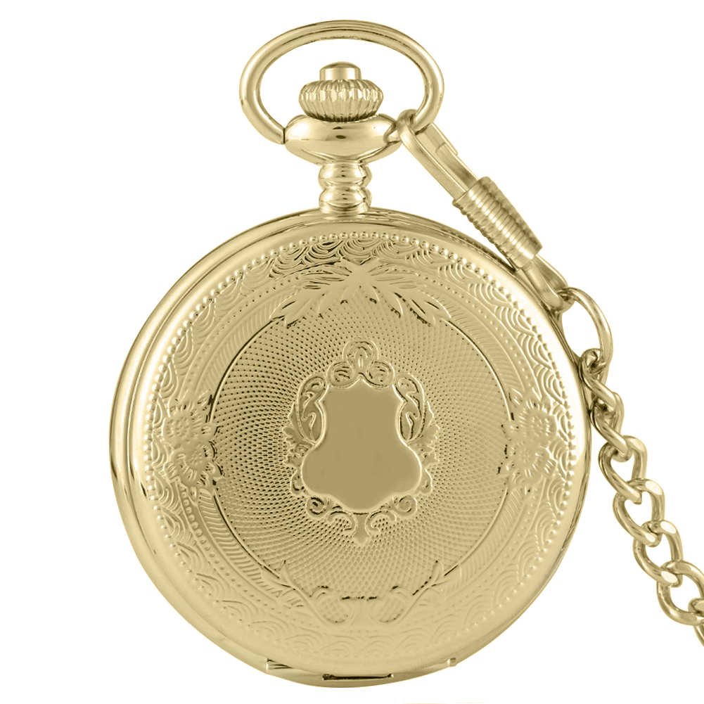 Retro Gold Case Pocket Watch For Male Portable Rough Chain Quartz Pendant Clock For Female Gift Reloj De Bolsillo Hombre